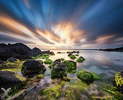 Seaweed Garden (DanielKHC) Tags: mauritius seascape long exposure nd1000 lucroit formatt hitech firecrest nikkor1424mm vertorama sea seaweed clouds rocks