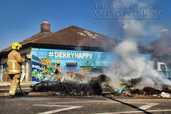Derry Happy ? (James Whorriskey (Delbert Jackson)) Tags: jameswhorriskey jameswhoriskey delbertjackson derry londonderry uk ulster ireland northernireland photo photograph photographer picture aroundus impressionsexpressions catchycolors jameswhorriskeyphotography colour art print bogside bonfire masked men youths petrol bombs august 15th cleanup operation firemen crew council derrycityandstrabanedistrict fire smoke plume