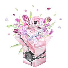 day-2_VIKTOR&ROLF (Liz Meester) Tags: viktorrolf viktorenrolf parfume watercolor ecoline parfum perfume pink floral flowerbomb flowerbombbuzz lizmeester liz meester