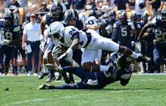 Upended (JPA Photographs) Tags: pitt penn state pennstate pittsburgh panthers football sports action tackle jpaphotography nikon d610 acc big10 heinzfield