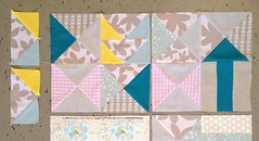 two blocks for sept/okt comfort circle quilt (Lotje quilts) Tags: low volume sewing quilt blocks hourglasses lotta jansdotter heather ross farfaraway