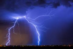 Split (Mike Olbinski Photography) Tags: 20160831 canon5dmarkiii arizona canon50mm12 citylights clouds coolidge lightning monsoon rain stars thunderstorm