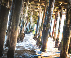 Under the Pier (Greg - AdventuresofaGoodMan.com) Tags: pier wave splash water ocean posts wooden wood wharf warf santacruz aptos california cali usa america manmade structure beams lines geometry beach playa delmar mar agua h20 seacliff
