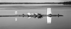 The Borenshult Pier (JohanKampe) Tags: bw blackwhite blue bl boat boats boren borenshult borensjn bt btar fordon lake motala outdoors outside panorama pier pir sj sommar summer svartvitt sverige sweden theborenlake utomhus vatten vehicle vehicles water