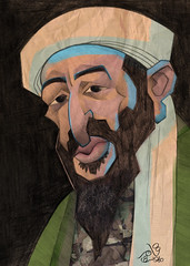 Ben Laden_Clrs (Tamer Youssef) Tags: california portrait usa afghanistan art by pencil sketch san francisco ben egypt laden caricature yemen catoon  ksa youssef  tamer