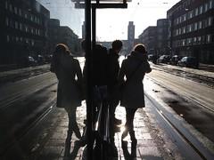 Wachtend op de tram (=Mirjam=) Tags: city light amsterdam backlight tram mercatorplein stad tegenlicht iphone februari 2013 tramhokje 113picturesin2013