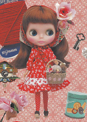 Kenner Blythe doll Vtg style Flared Dolly Dress & socks set dolls clothes fashion sewing crafts pdf E PATTERN in Japanese (DollyPaws) Tags: red classic fashion socks japanese outfit clothing doll dolls pattern dress sewing crafts clothes kenner blythe pdf dolly longsleeve flared epattern