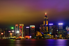 Light Pollution [Explored] (boingyman.) Tags: travel hk building skyline night skyscraper canon hongkong lightpollution victoriaharbour 35l t2i boingyman