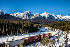 Classic (cec403) Tags: winter snow canada mountains nature forest train rockies alberta cpr bowriver banffnationalpark bowvalleyparkway mountfairview morantscurve canont4i