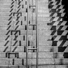 Stair geometry (tanakawho) Tags: shadow bw abstract geometric monochrome stair sunny monotone line repetition format railing tanakawho squareformatsquare