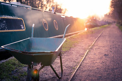 42/365: Golden Barrow (shilbill) Tags: sun 35mm golden flare f22 365 barge wheelbarrow goldenhour grandunioncanal sunflare rickmansworth aquadrome 35mmf18 project365 365dayproject d3100 nikond3100