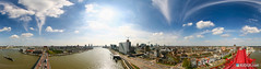 360 Panorama over Rotterdam as seen from the Willemsbrug (Rudgr.com) Tags: blue sky panorama sun clouds rotterdam pano wide sunny 360 bluesky panoramic stunning uitzicht 2008 willemsbrug overview rotterdamzuid panoramisch view010 rotterdamcentrum