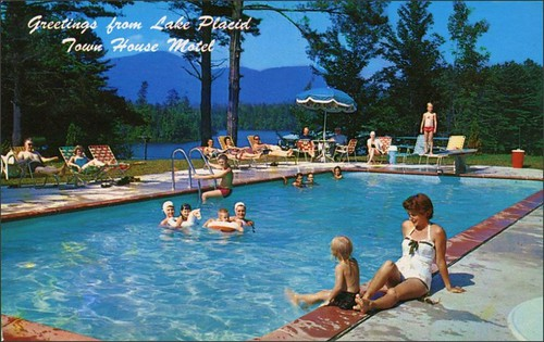 travel vacation advertising roadtrips pools 1950s postcards leisure hotels 1960s poolside advertisements inns motels lakeplacid midcentury lodges townhousemotel