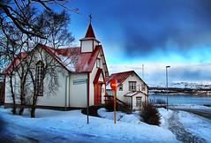 Beautiful Peturskirkjan Church in Akureyri, Iceland (` Toshio ') Tags: winter red cloud snow cold building ice church architecture iceland europe european catholic path religion icy akureyri toshio peturskirkjan