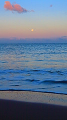 the moon goes down (bluewavechris) Tags: ocean sea sky moon color beach water clouds island dawn hawaii sand scenic maui moonset breakingdawn