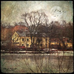 Waiting for Spring (Kerstin Frank art) Tags: trees moon texture buildings stockholm oldbuilding lngholmen skeletalmess lesbrumes magicunicornverybest kimklassen kerstinfranktexture