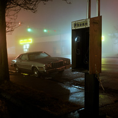 (patrickjoust) Tags: auto usa mist classic 120 6x6 tlr film broken car sign yellow fog night analog america booth dark square lens us store reflex md focus automobile long exposure fuji mechanical telephone united release tripod north foggy patrick twin maryland cable baltimore dollar after medium format states tungsten manual expired joust balanced 65 estados c41 unidos mamiyac330s autaut sekor65mmf35 patrickjoust fujicolornpl160t