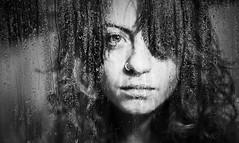 Drop/Curl (cuky1984) Tags: portrait blackandwhite bw glass face self drops bn donne biancoenero gocce