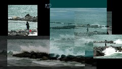 collage pescatore con secchiello rosso2 (maryateresa2001) Tags: sea mtd collage bucket mare waves more sanremo onde redbucket graphicmaster maryateresa collagephotoscape