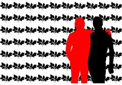 Postkarten-Grafik (Flick-flack1) Tags: schattenriss schwarzweis schattenrissbunteflecken