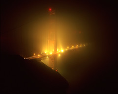 Aberration Golden Gate Bridge (RZ68) Tags: bridge light tower film fog thanks night dark golden bay gate san francisco long exposure flickr gloomy marin 4 north battery foggy velvia headlands 6x7 spencer provia thee banding ggnra e100 rz68