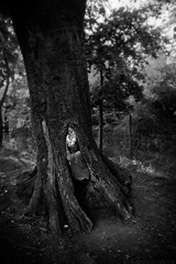 Finally, Brethren (rpgwhitelock) Tags: trees light england blackandwhite bw woman black tree art girl monochrome beautiful mystery forest mono artwork woods flash fineart atmosphere adventure explore oxford figure mysterious oxfordshire atmospheric finally transcendent brethren numinous finallybrethren