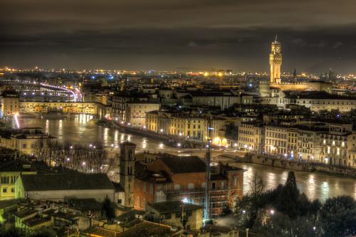 Arno river, Ponte Vecchio and Palazzo Vecchio