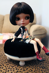 Finished Ottoman (tatteredsaints) Tags: doll furniture blythe ottoman blackvelvet