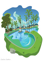 Ilustracion Samil (Carlos Castro Prez) Tags: world blue trees summer sky color green tourism illustration composition palms poster design spain europe graphic drawing earth playa piscina galicia adobe illustrator colourful vector vigo samil cs5 swimmininpool