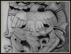 Detail: Sculptural Relief, Saint Cecilia Roman Catholic Church--Detroit MI (pinehurst19475) Tags: city urban blackandwhite white church parish catholic eagle roman michigan detroit cecilia romancatholic whiteblack saintcecilia livernois sculpturalrelief churchbwblack stceciliasaint