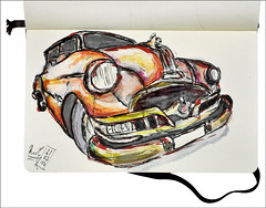 US Car (rafaelmucha) Tags: auto usa color water car pen ink notebook us sketch sketchbook draw copic aquarell rotring artpen paralell uscar