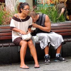 secret snacking (Grenzeloos1 -) Tags: city people bench sitting eating brisbane queensland huge silverpants autumn2013