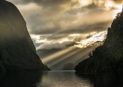 Sound Beacons (Ian@NZFlickr) Tags: show light sun hall day arm cloudy nz sound rays doubtful topaz fiordland