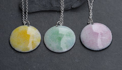 Yellow, green and pink enamel pendants (Firepan) Tags: new enamels newjewellery