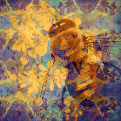 The Buzz in the Blooms (hollykl) Tags: flower photomanipulation square digitalart bee bloom hypothetical vividimagination meadgardens artdigital arteffects sharingart awardtree exoticimage netartii