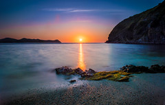 Tranquility (patmeierphoto) Tags: ocean sunset sea vacation cliff seascape seaweed love beach nature water beautiful beauty horizontal relax landscape outdoors island photography bay boat moss holidays
