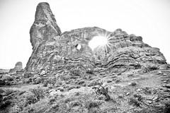 Turret Arch (Jeremy Duguid) Tags: park travel bw sun white black canon landscape utah arch arches jeremy national moab turret starburst duguid 5dmkiii jeremyduguid