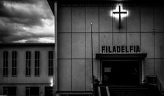 Days of Wrath in Filadelfia(Explored 14/04/2013) (The_ Incredible_ Mr.E) Tags: white black church iceland cross reykjavik