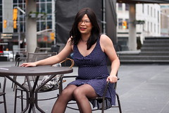 Yonge-Dundas Square (tgirl-katie) Tags: park asian tv dress outdoor cd chinese tgirl transgender tranny casual cleavage transgendered crossdresser ts tg transsexual  m2f    newhalf