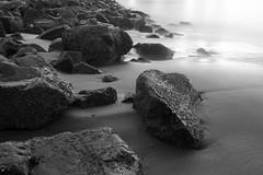 Stillness at Sundown (ygchan) Tags: ocean sanfrancisco california longexposure bw beach water sand rocks pacific fishermanswharf