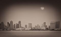 Sepia Moonrise (Waldemar*) Tags: california usa moon buildings bay nikon downtown sandiego fullmoon moonrise westcoast shelterisland highrises pointloma afs70200mmf28gvrii d800e
