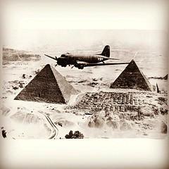 Gooney Bird Over Egypt, circa 1943 (KurtClark) Tags: square egypt squareformat pyramids douglas skytrain dc3 hefe c47 filmisnotdead iphoneography instagramapp uploaded:by=instagram oldgoldfiltered