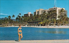 Hilton Hawaiian Village & Lagoon, Waikiki Hawaii (1950sUnlimited) Tags: travel vacation tourism hawaii bars lakes restaurants roadtrips villages tourists pools 1950s leisure hotels 1960s poolside resorts diners inns motels midcentury cottages bungalows swimmingpools lobbys buffets lounges motorinns