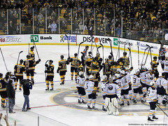 Bruins and Sabres stick salute