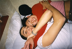 Lizzy and Cesk (Gary Kinsman) Tags: hampsteadstudentcampus hampstead childshill nw3 kidderporeavenue london film kingscollegelondon kcl hallsofresidence studentcampus students university fun youth young 2001 ellison flash bedroom bed candid unposed