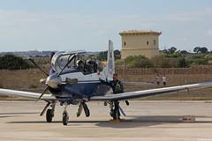 Beechcraft T-6A Texan II HAF 023 just before the demonstration flight at the Malta International Airshow 2015 (Jeroen.B) Tags: flickr malta2015 beechcraft t6a t6 texan hellenic air force haf   polemik aeropora 023 pg23 361 training squadron mystras malta international airshow show mia airport 2015 mla lmml