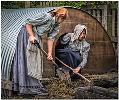Mucking out the sty (Hugh Stanton) Tags: sty shovel straw broom victorian blisthill