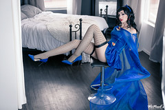 Bombshell Raven (Torremitsu) Tags: bombshell raven legs legsfordays sexy boudoir beautifulcosplay cosplaygirl cosplay long blue bedroom levitate
