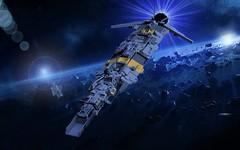 USS Vocat - SCE-class SHIP - in space (adde51) Tags: adde51 lego moc shiptember microscale swebrick exodus ship space spaceship foitsop