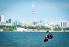 Always and Forever (Toronto skyline bokeh) (JohnNguyen0297 (mostly off)) Tags: bokeh hbw happybokehwednesday toronto canada johnnguyen johnnguyen0297 lock lockset blur love lovelock cntower cityscape skyline ontario lake lakeontario romantic